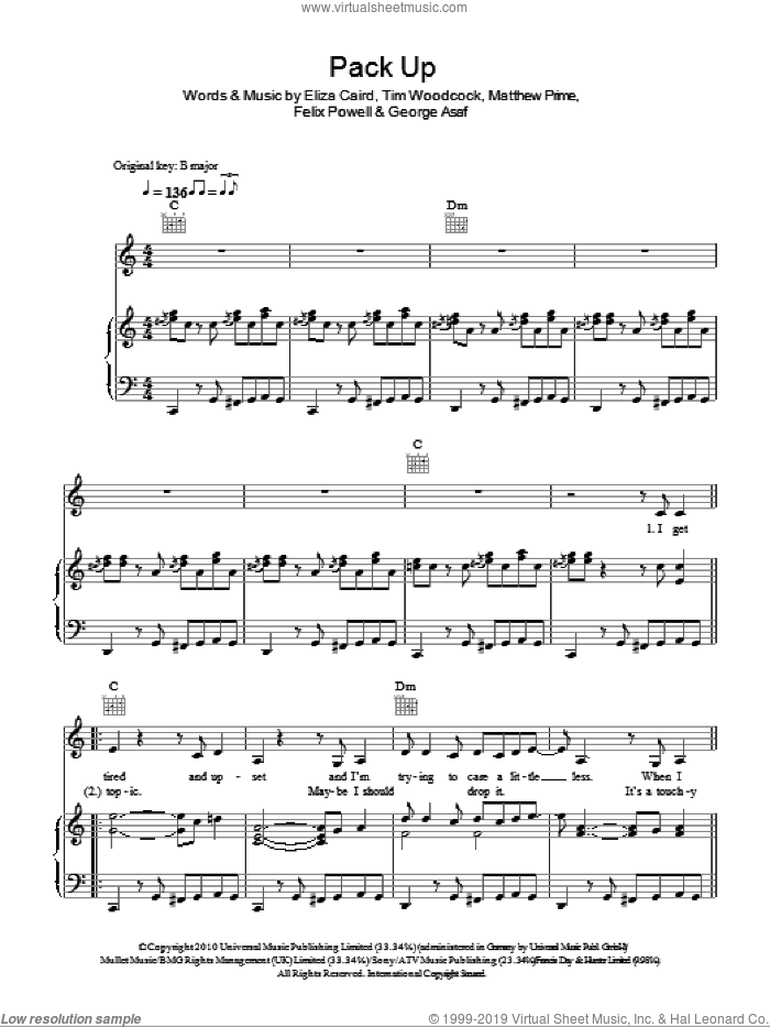 Pack Up sheet music for voice, piano or guitar by Eliza Doolittle, Eliza Caird, Felix Powell, George Asaf, Matthew Prime and Tim Woodcock, intermediate skill level