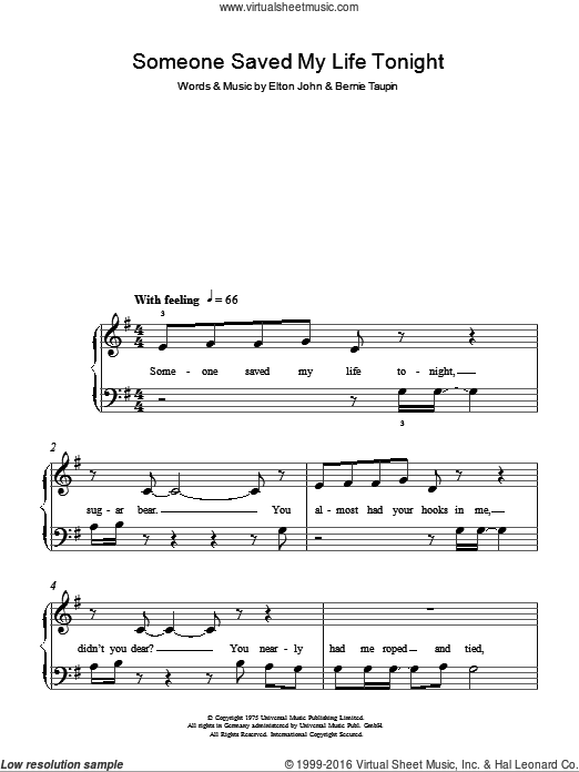 Someone Saved My Life Tonight sheet music for piano solo by Bernie Taupin and Elton John. Score Image Preview.
