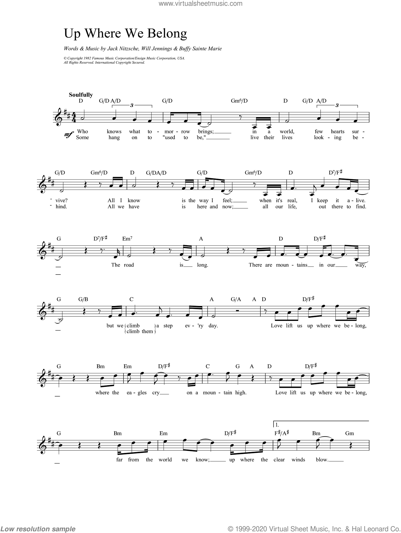 Up Where We Belong sheet music for voice and other instruments (fake book) by Joe Cocker, Jennifer Warnes and Miscellaneous, intermediate skill level