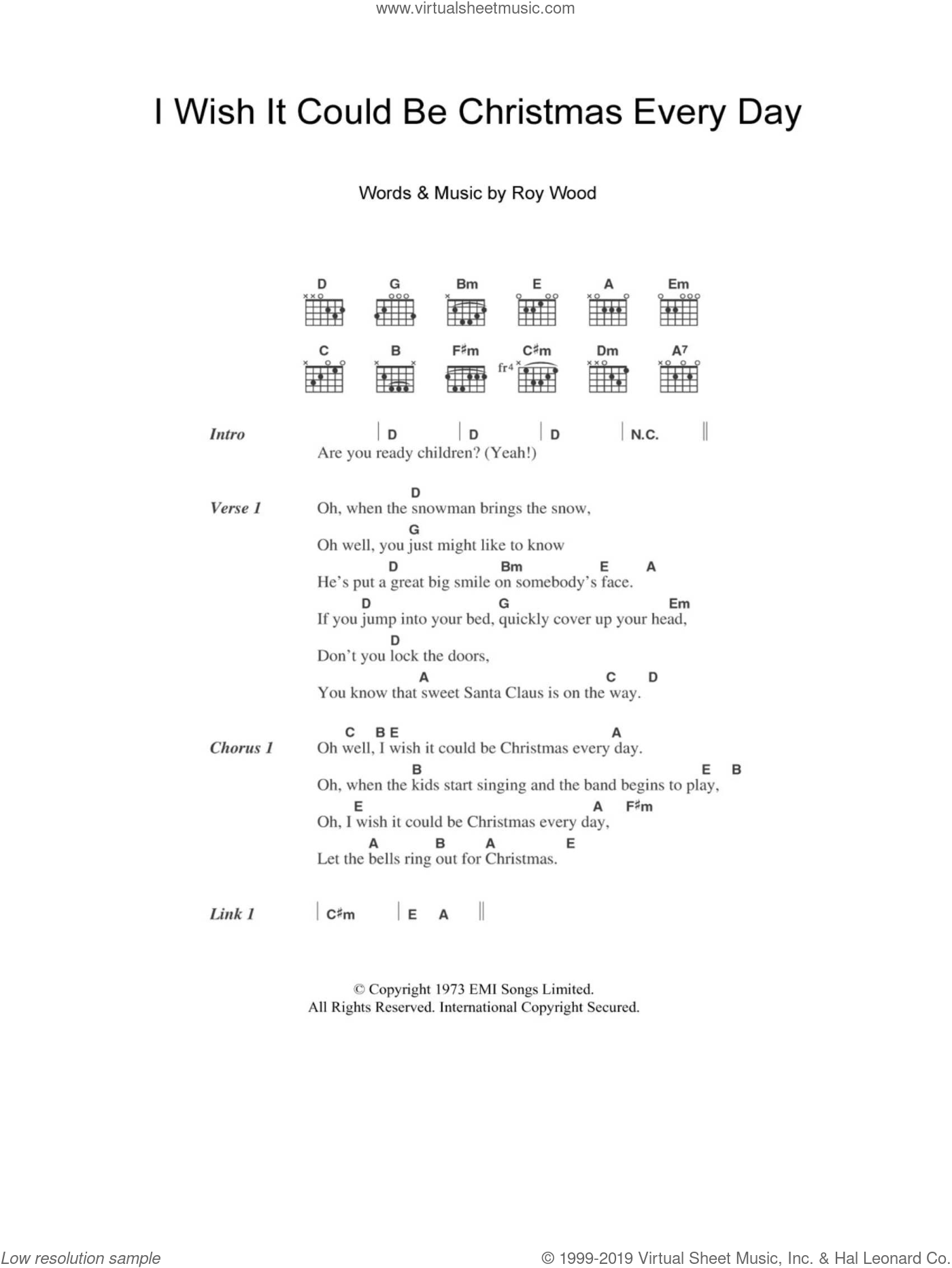 I Wish It Could Be Christmas Every Day sheet music for guitar (chords) by Wizzard, Christmas carol score, intermediate guitar (chords). Score Image Preview.