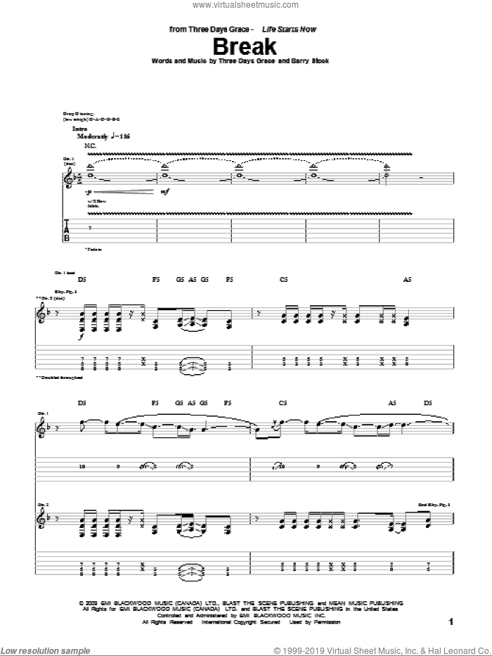 Break sheet music for guitar (tablature) by Three Days Grace, Adam Gontier, Barry Stock, Brad Walst and Neil Sanderson, intermediate skill level