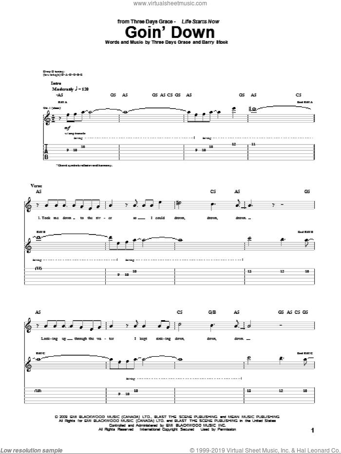 Goin' Down sheet music for guitar (tablature) by Three Days Grace, intermediate. Score Image Preview.