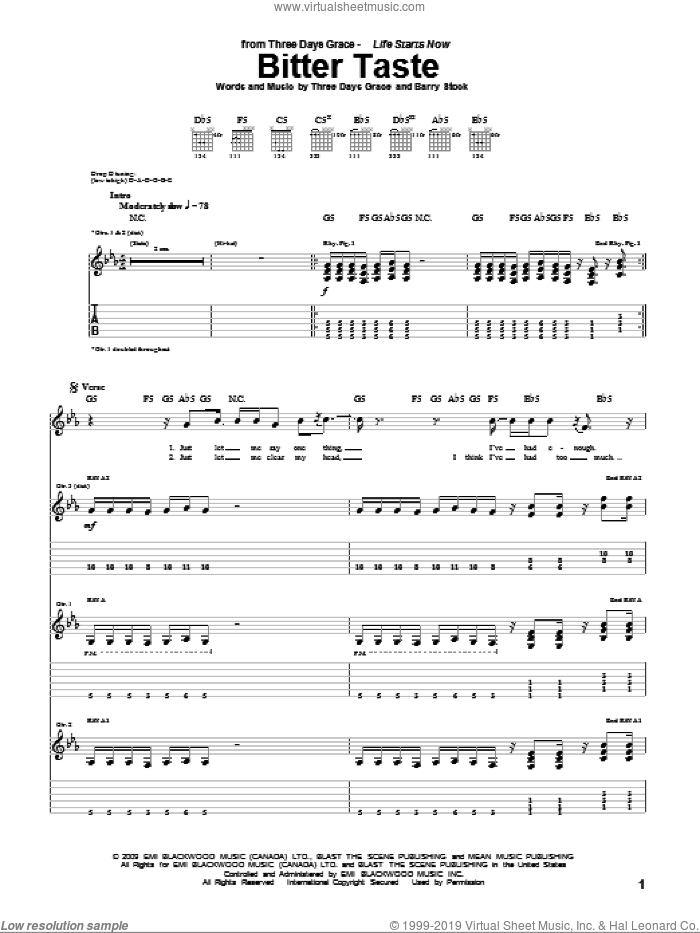 Bitter Taste sheet music for guitar (tablature) by Neil Sanderson, Three Days Grace and Barry Stock. Score Image Preview.