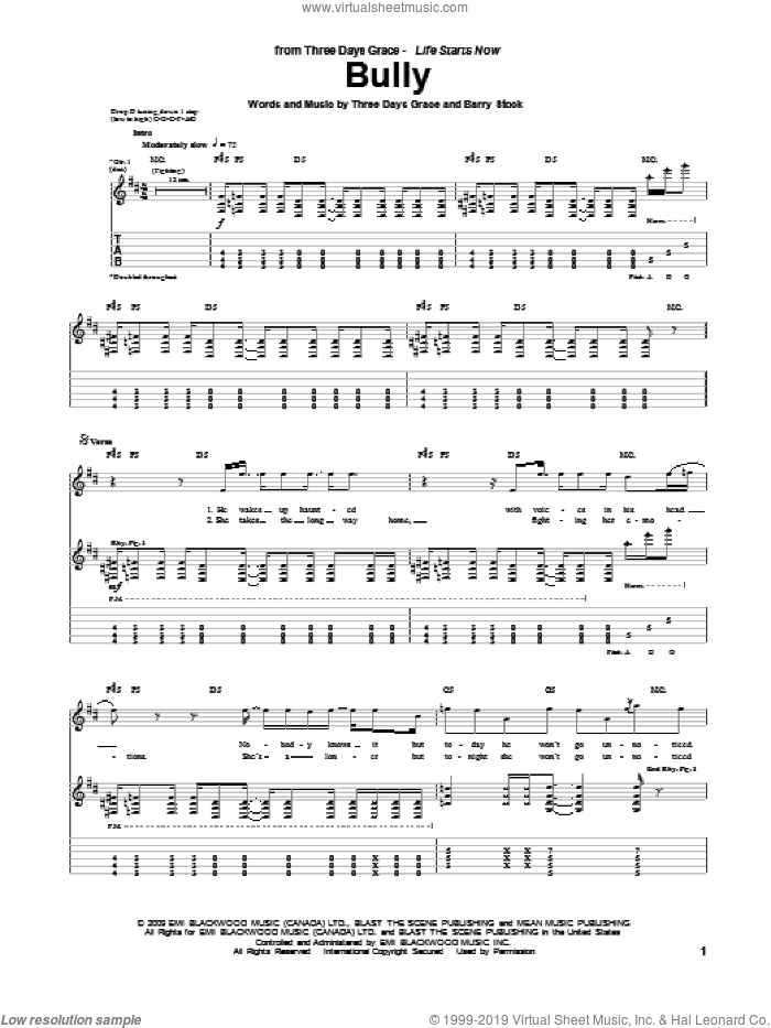 Bully sheet music for guitar (tablature) by Neil Sanderson, Three Days Grace and Barry Stock. Score Image Preview.