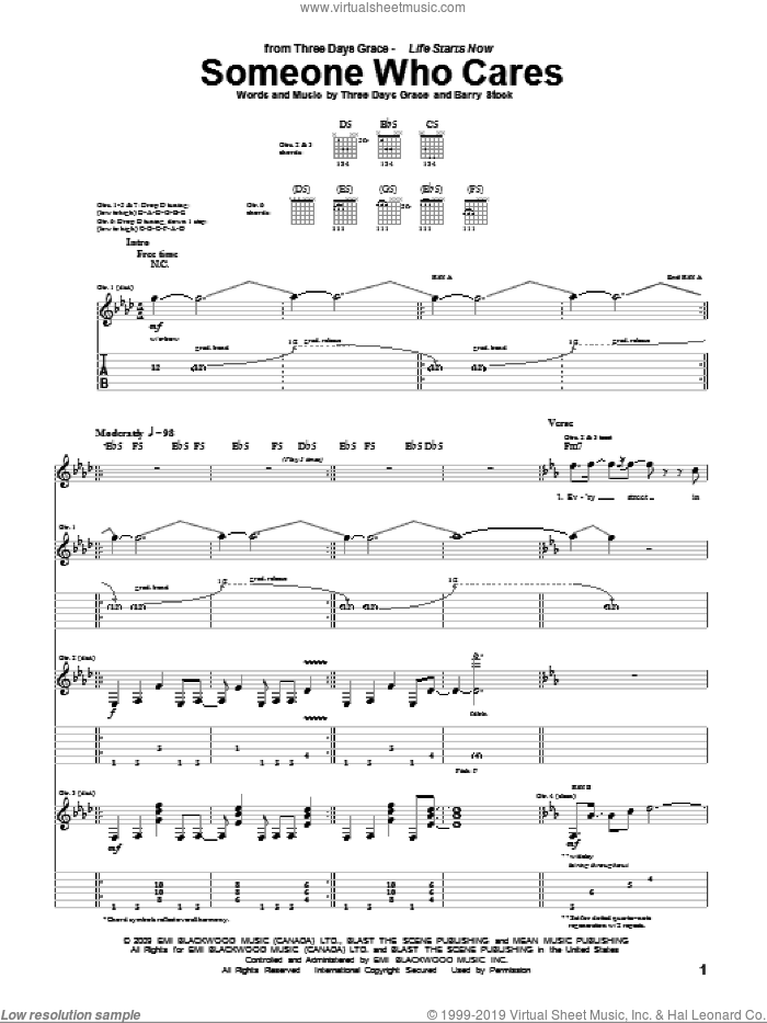 Someone Who Cares sheet music for guitar (tablature) by Three Days Grace, Adam Gontier, Barry Stock, Brad Walst and Neil Sanderson, intermediate skill level