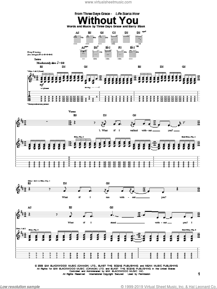 Without You sheet music for guitar (tablature) by Three Days Grace, Adam Gontier, Barry Stock, Brad Walst and Neil Sanderson, intermediate skill level