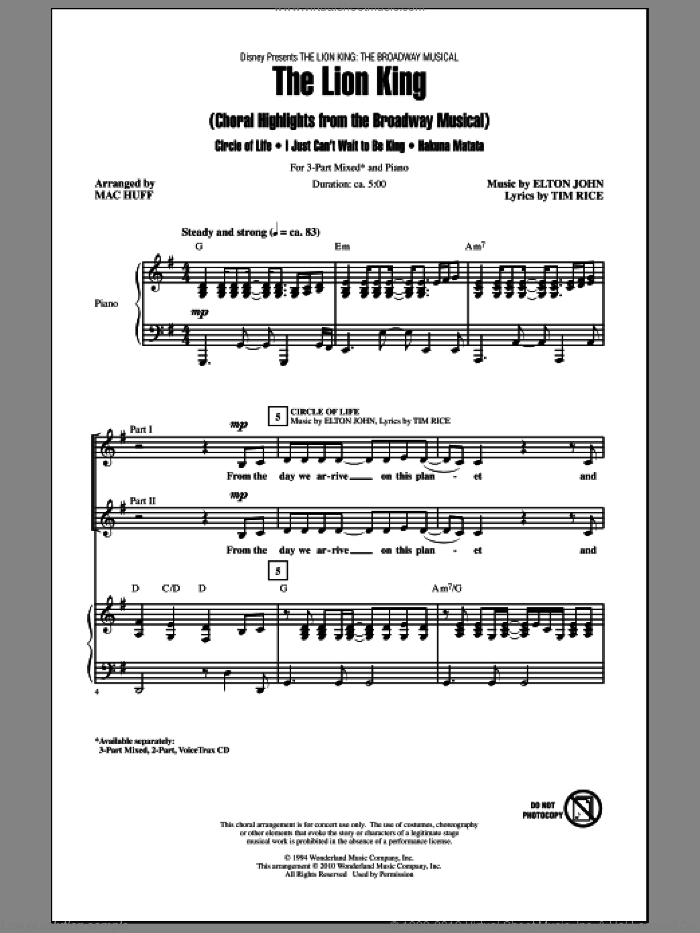 The Lion King (Broadway Musical Highlights) sheet music for choir and piano (chamber ensemble) by Elton John, Mac Huff and Tim Rice. Score Image Preview.