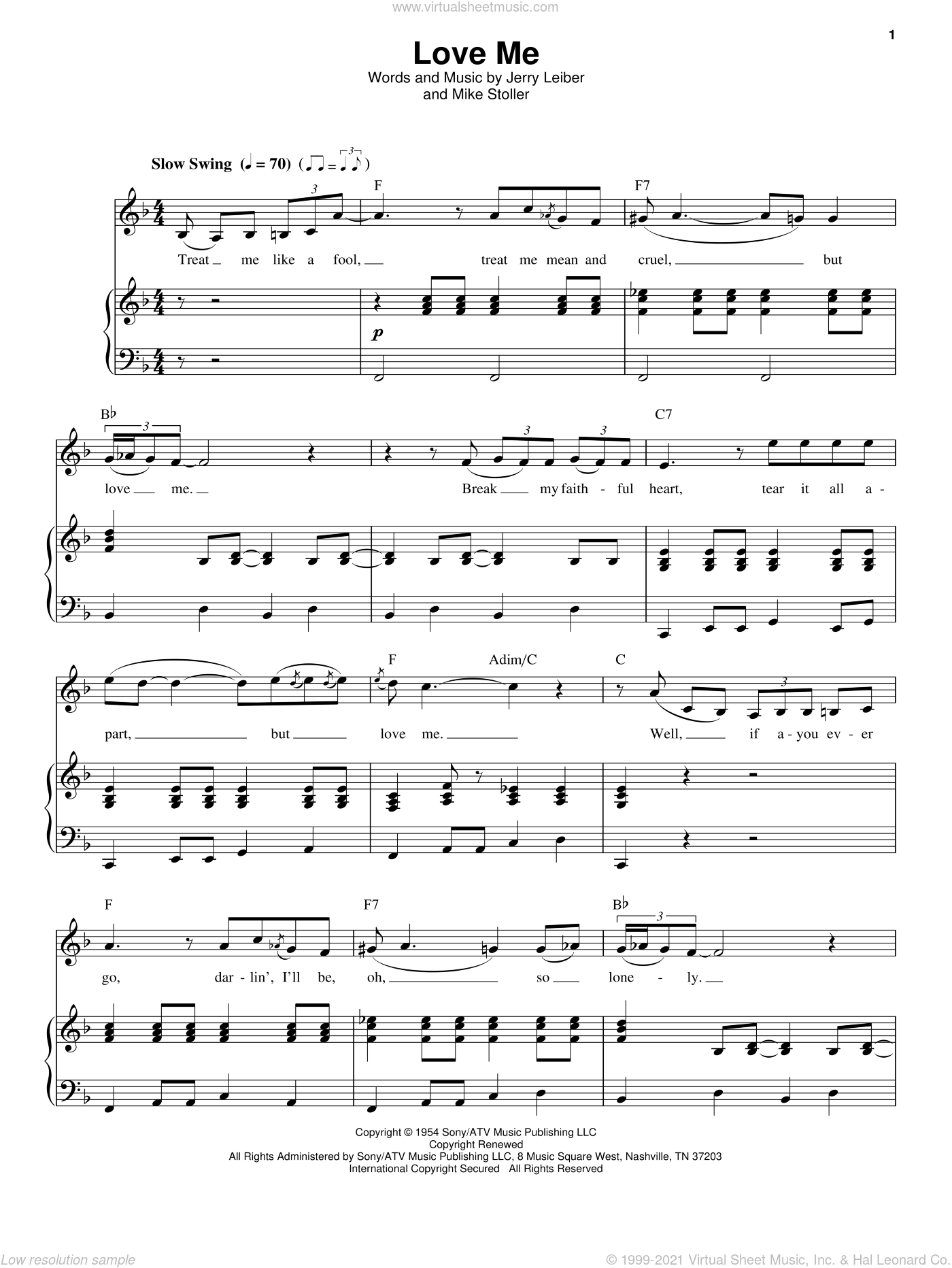 Love Me sheet music for voice and piano by Mike Stoller
