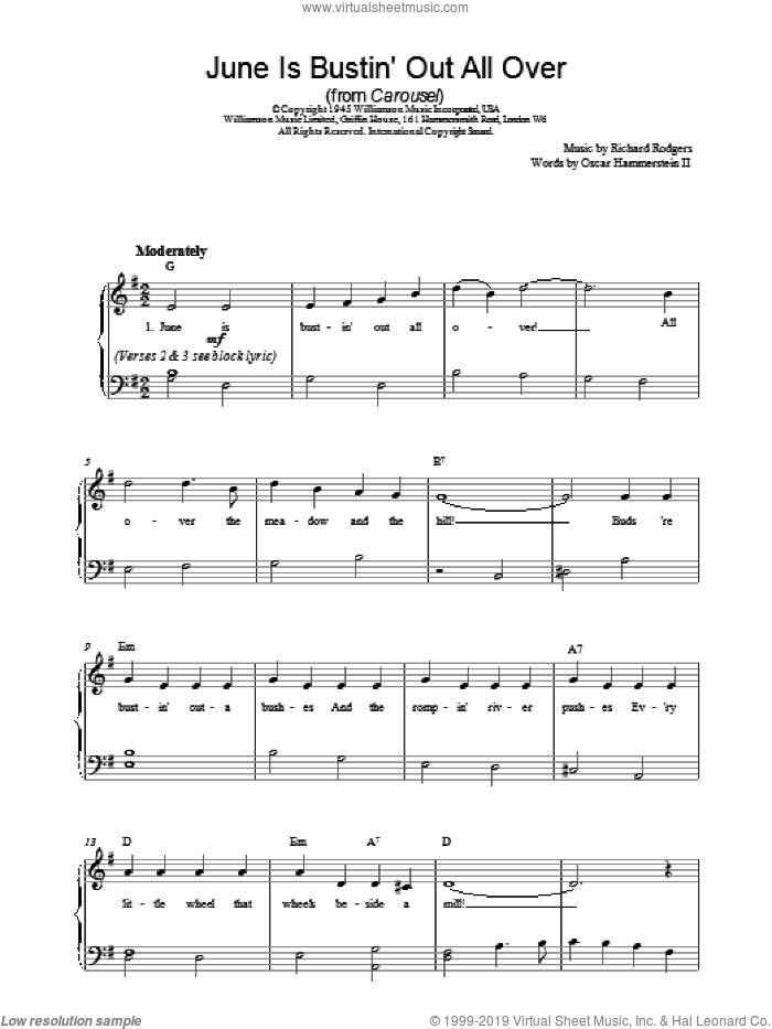 June Is Bustin' Out All Over sheet music for piano solo by Richard Rodgers and Rodgers & Hammerstein. Score Image Preview.