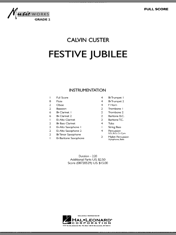 Festive Jubilee sheet music for concert band (full score) by Calvin Custer