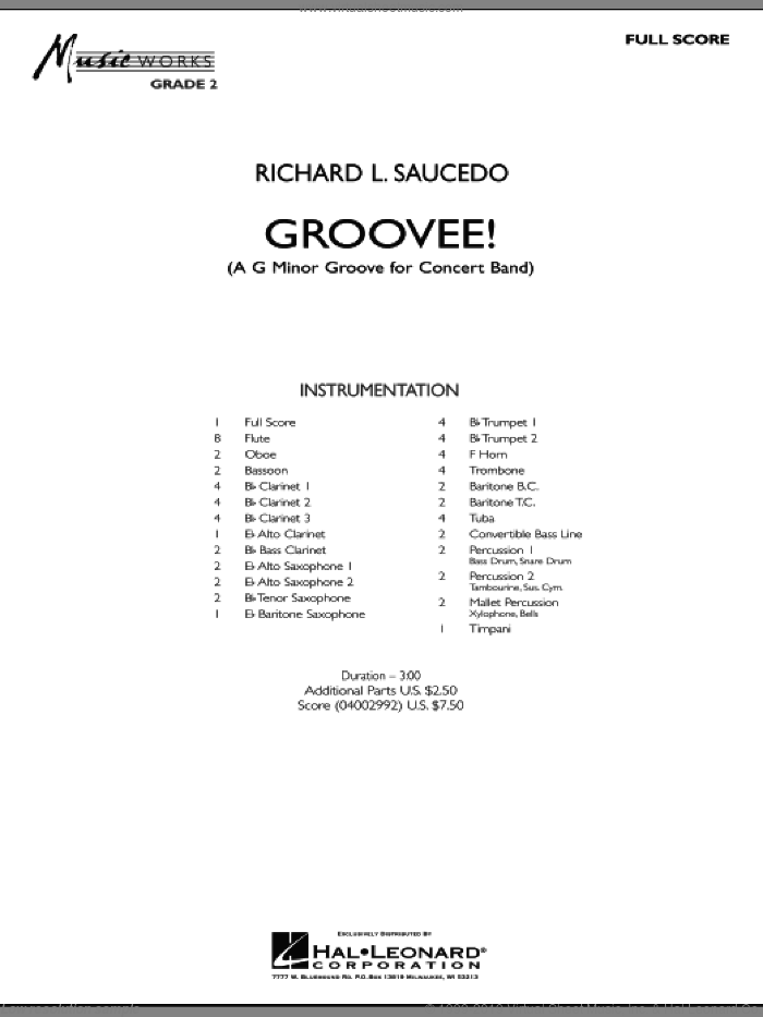 Groovee! (COMPLETE) sheet music for concert band by Richard L. Saucedo, intermediate skill level
