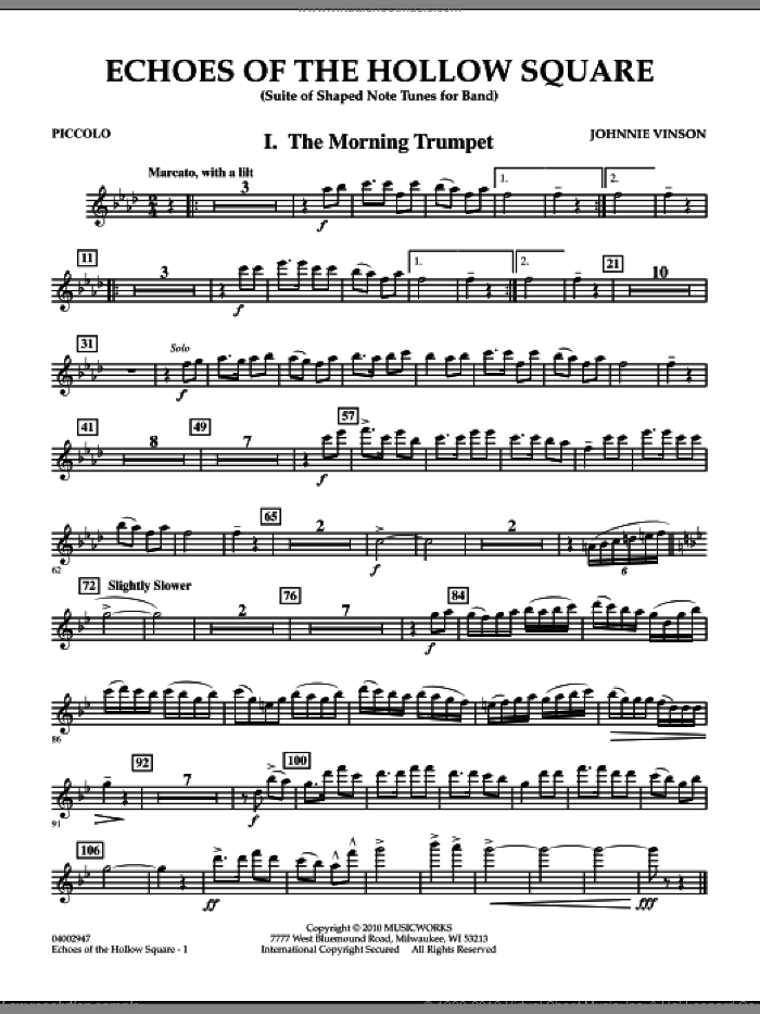 Echoes Of The Hollow Square sheet music for concert band (piccolo) by Johnnie Vinson
