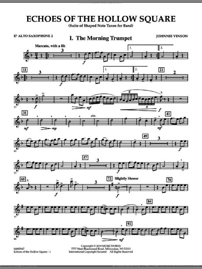 Echoes Of The Hollow Square sheet music for concert band (Eb alto saxophone 2) by Johnnie Vinson