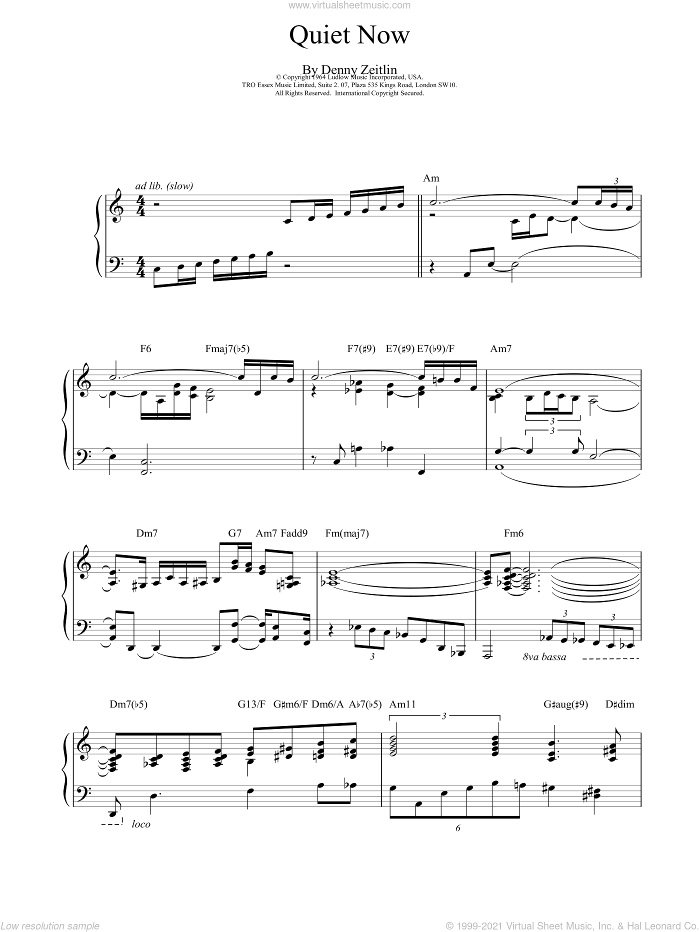 Quiet Now sheet music for piano solo by Bill Evans, intermediate. Score Image Preview.