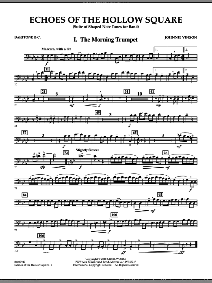 Echoes Of The Hollow Square sheet music for concert band (baritone b.c.) by Johnnie Vinson