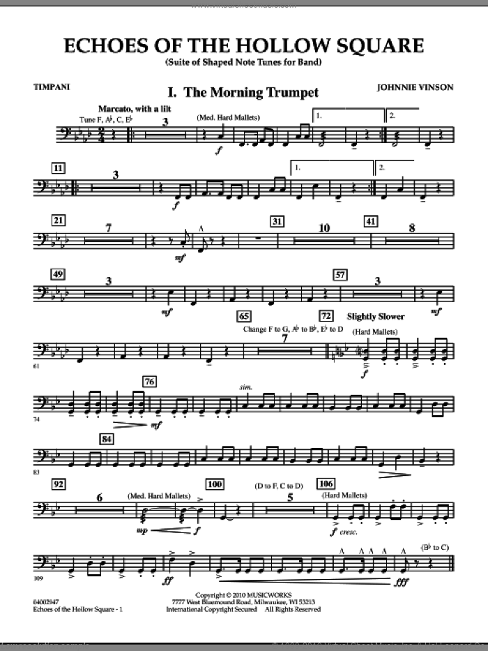 Echoes Of The Hollow Square sheet music for concert band (timpani) by Johnnie Vinson