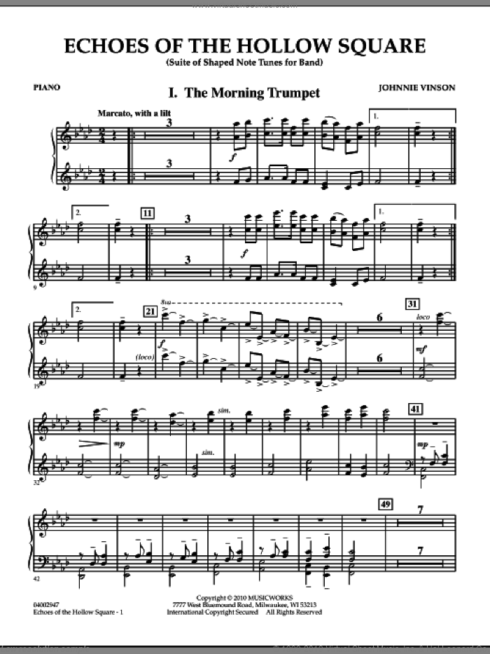Echoes Of The Hollow Square sheet music for concert band (piano) by Johnnie Vinson