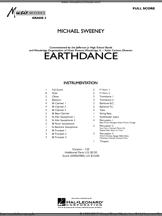 Earthdance (COMPLETE) sheet music for concert band by Michael Sweeney