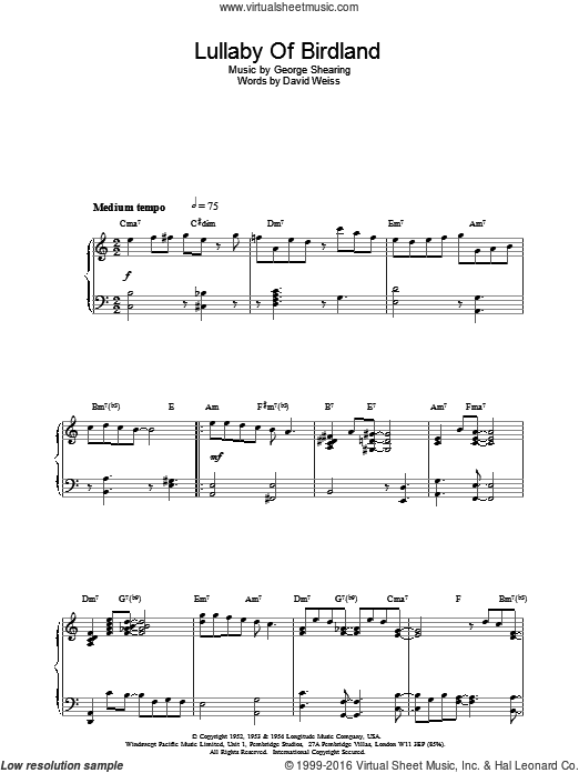Lullaby Of Birdland sheet music for piano solo by George David Weiss and George Shearing. Score Image Preview.