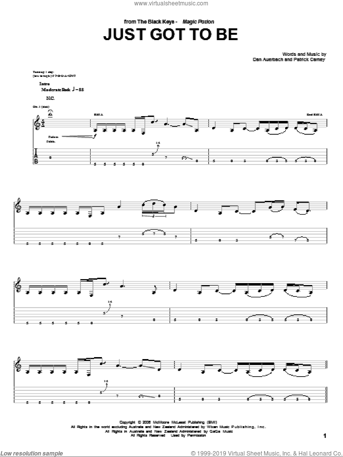 Just Got To Be sheet music for guitar (tablature) by Patrick Carney and Daniel Auerbach. Score Image Preview.