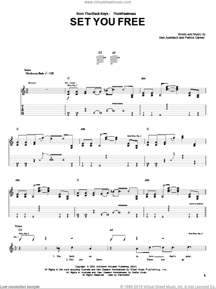 Set You Free sheet music for guitar (tablature) by Patrick Carney and Daniel Auerbach. Score Image Preview.