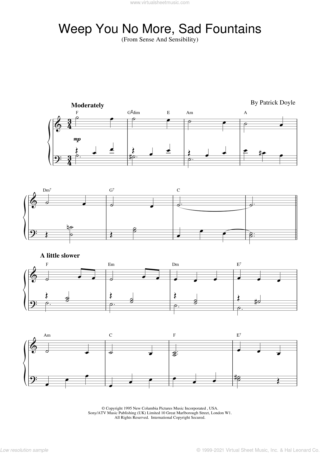 Weep You No More, Sad Fountains (from Sense And Sensibility) sheet music for piano solo by Patrick Doyle and Sense And Sensibility (Movie), intermediate skill level