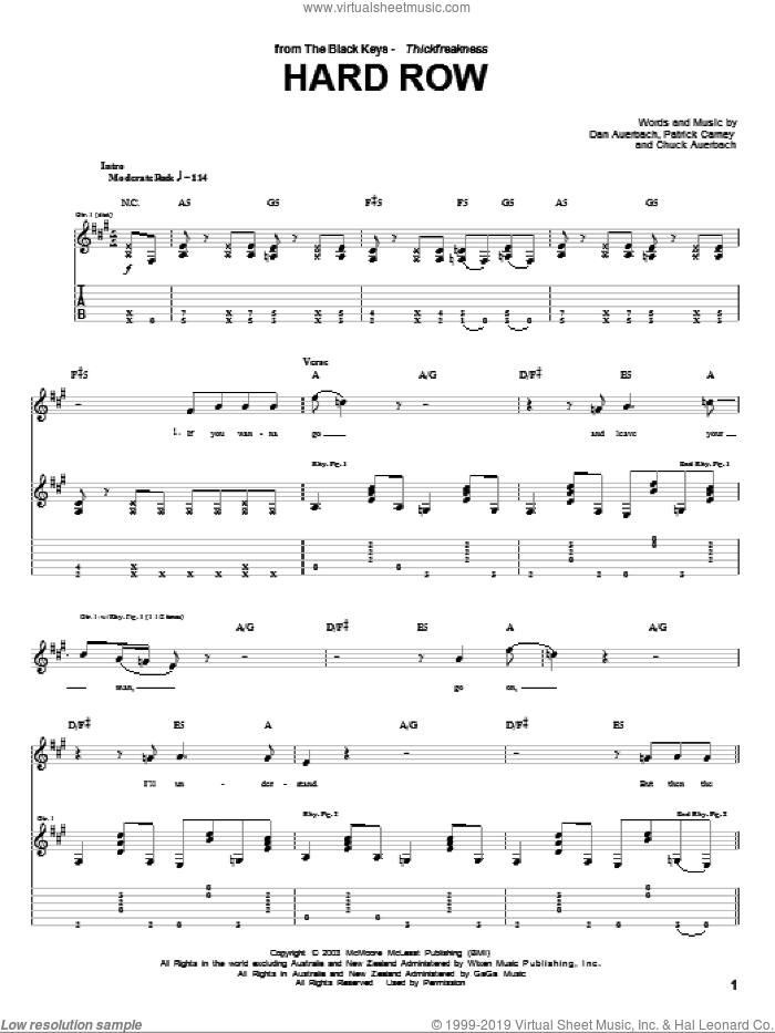 Hard Row sheet music for guitar (tablature) by The Black Keys and Daniel Auerbach
