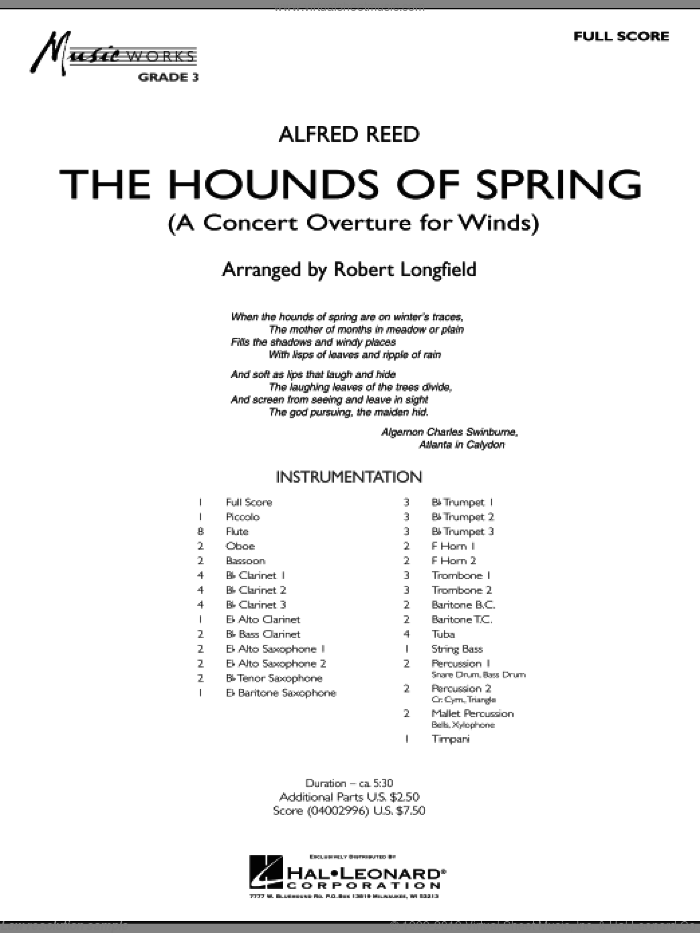 The Hounds Of Spring (COMPLETE) sheet music for concert band by Alfred Reed and Robert Longfield, intermediate skill level