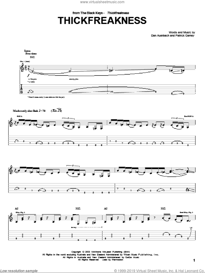 Thickfreakness sheet music for guitar (tablature) by Patrick Carney and Daniel Auerbach. Score Image Preview.