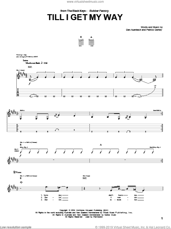 Till I Get My Way sheet music for guitar (tablature) by The Black Keys and Daniel Auerbach, intermediate guitar (tablature). Score Image Preview.