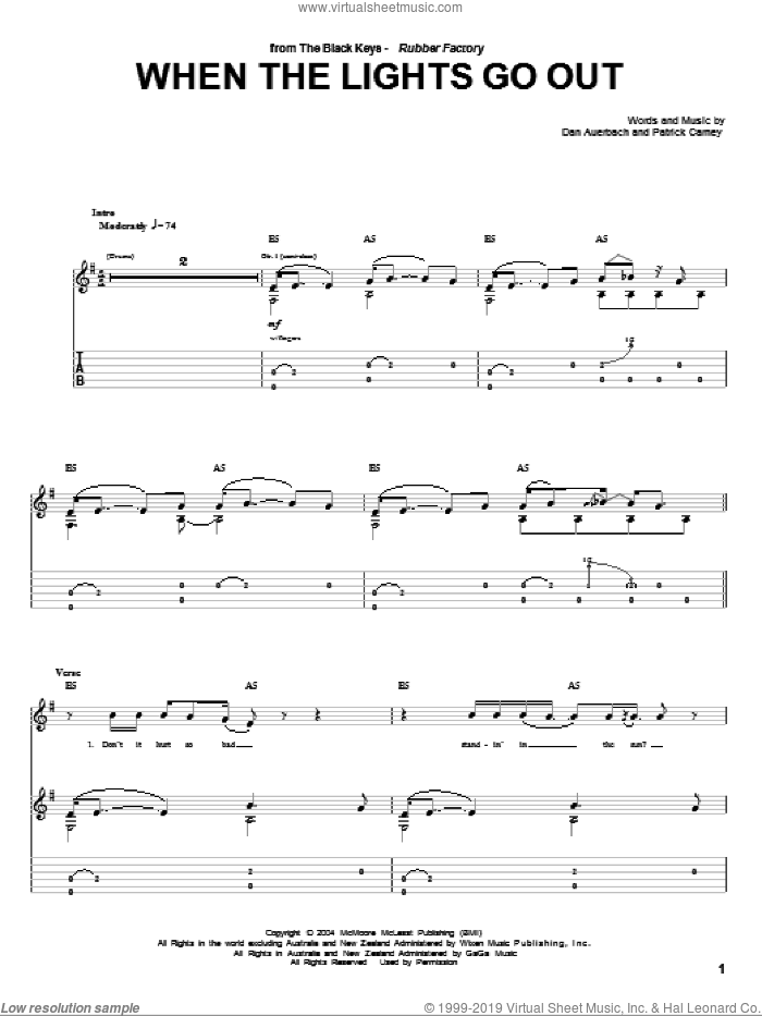 When The Lights Go Out sheet music for guitar (tablature) by The Black Keys and Daniel Auerbach, intermediate guitar (tablature). Score Image Preview.