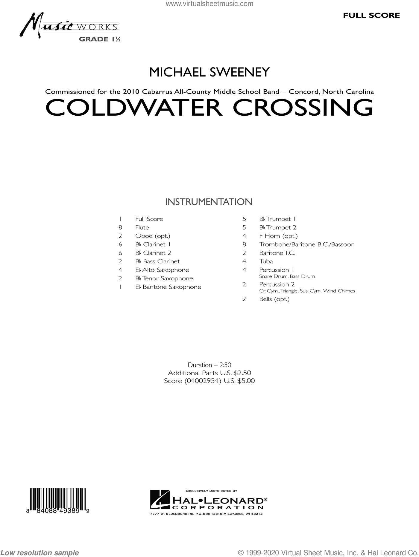 Coldwater Crossing sheet music for concert band (full score) by Michael Sweeney