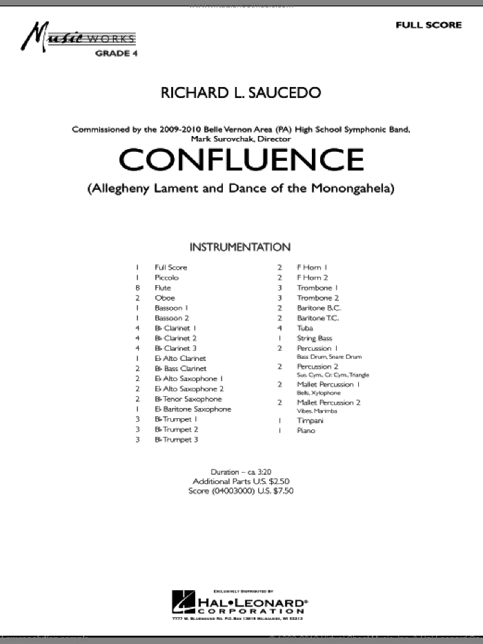 Confluence sheet music for concert band (full score) by Richard L. Saucedo