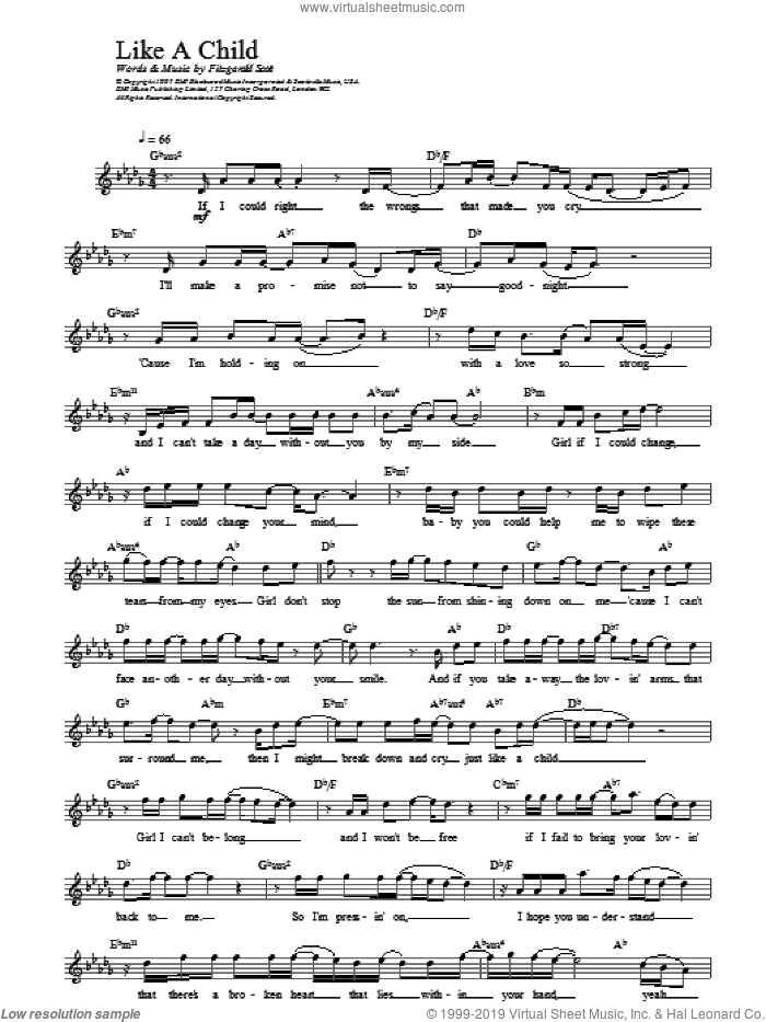 Like A Child sheet music for voice and other instruments (fake book) by Fitzgerald Scott and Backstreet Boys. Score Image Preview.