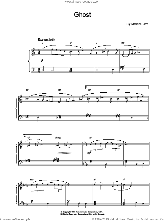 Ghost sheet music for piano solo by Maurice Jarre, intermediate