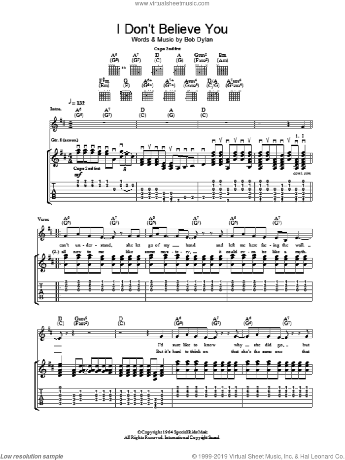 I Don't Believe You sheet music for guitar (tablature) by Bob Dylan
