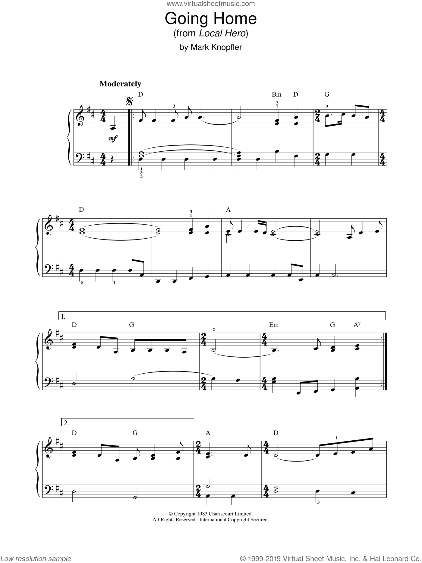 Going Home (from Local Hero) sheet music for piano solo by Mark Knopfler, intermediate skill level