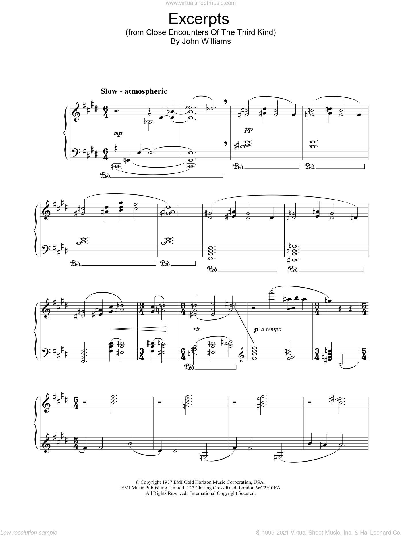 Excerpts from Close Encounters Of The Third Kind sheet music for piano solo by John Williams. Score Image Preview.