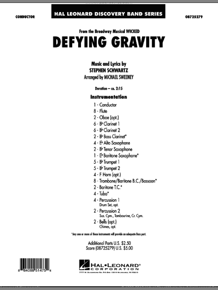 Defying Gravity (from Wicked) (COMPLETE) sheet music for concert band by Stephen Schwartz and Michael Sweeney, intermediate skill level