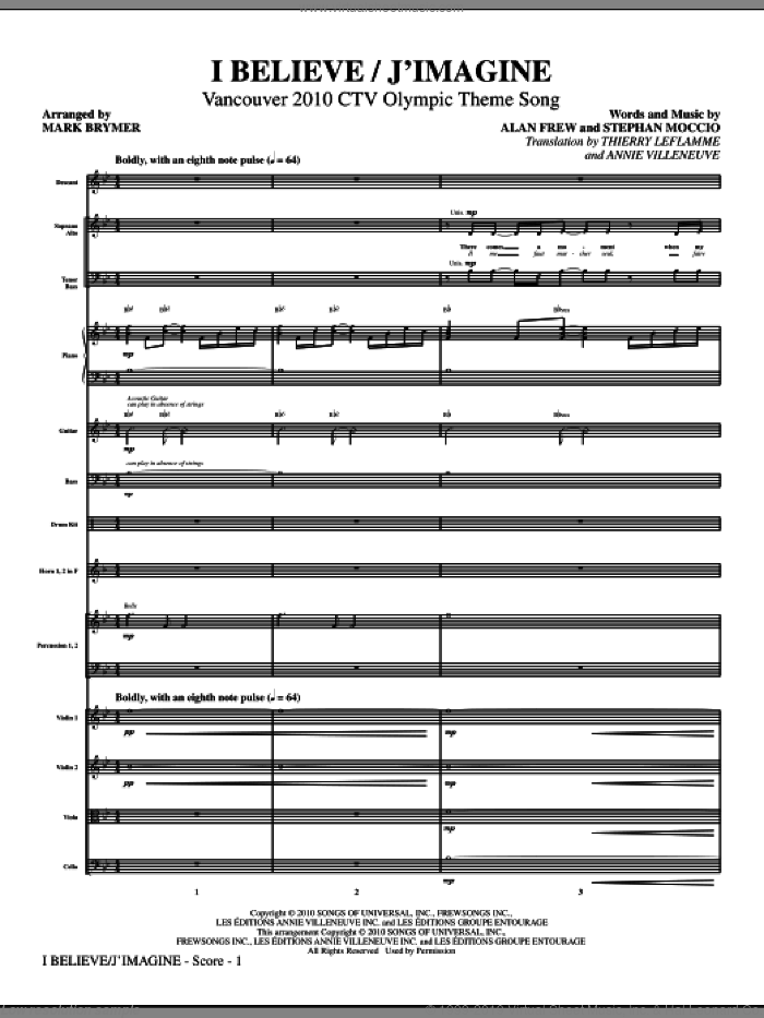 I Believe / J'Imagine sheet music for orchestra/band (full score) by Alan Frew