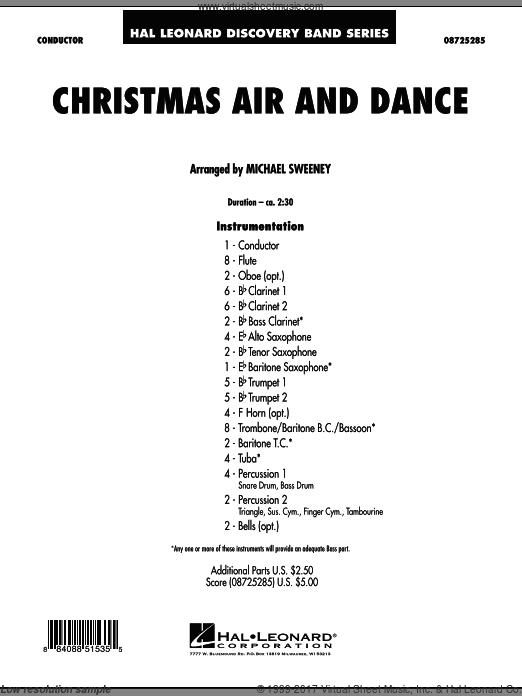 Christmas Air And Dance (COMPLETE) sheet music for concert band by Michael Sweeney