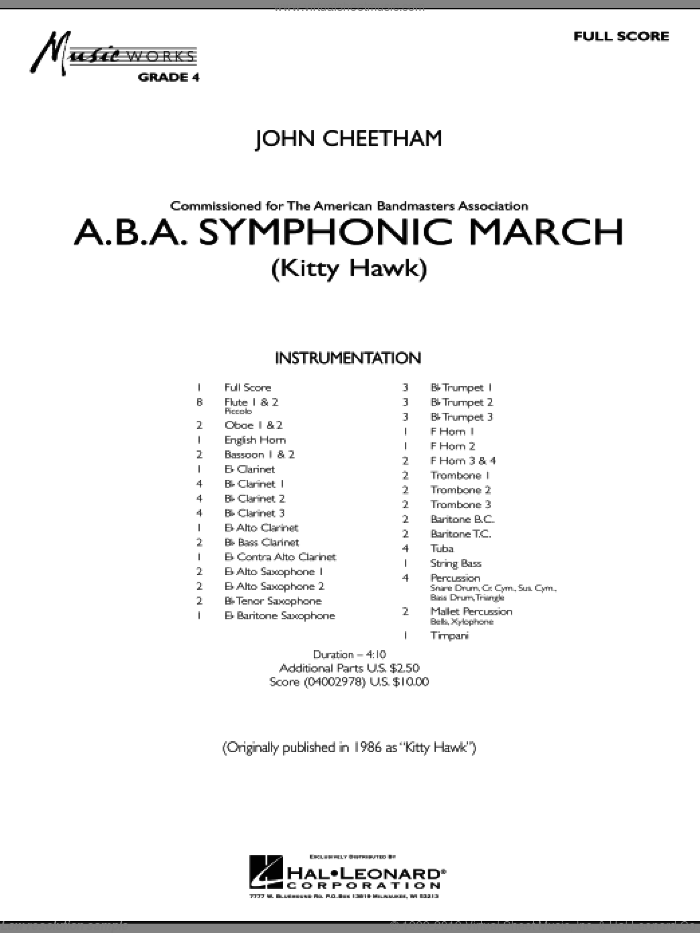 A.B.A. Symphonic March (Kitty Hawk) sheet music for concert band (conductor score, full score) by John Cheetham