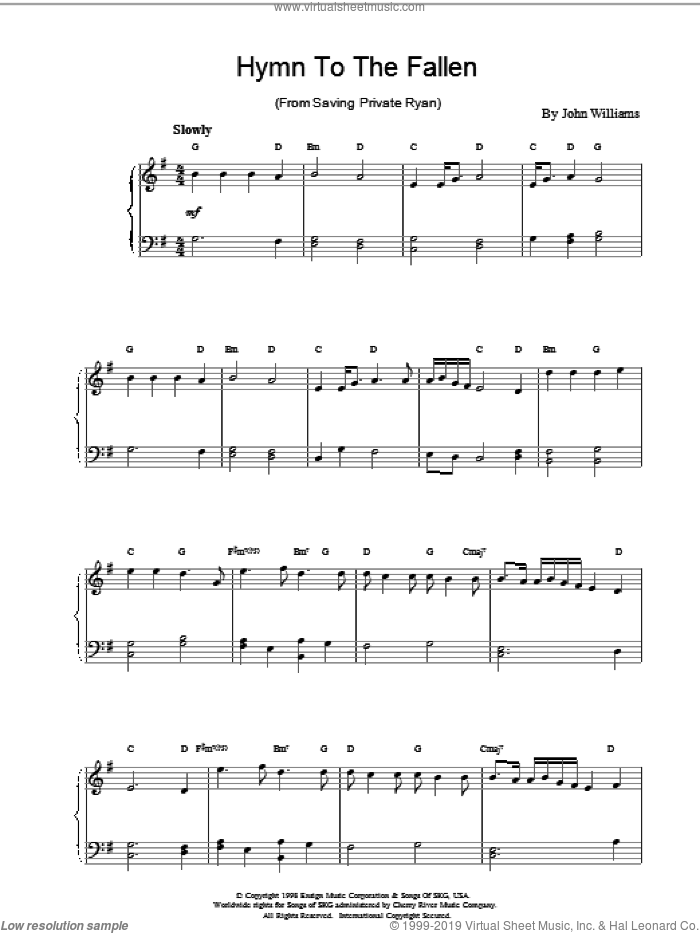 Hymn to the Fallen sheet music for piano solo by John Williams, intermediate skill level