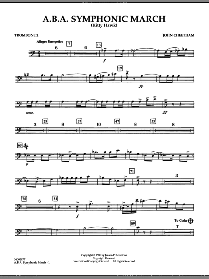 A.B.A. Symphonic March (Kitty Hawk) sheet music for concert band (trombone 2) by John Cheetham