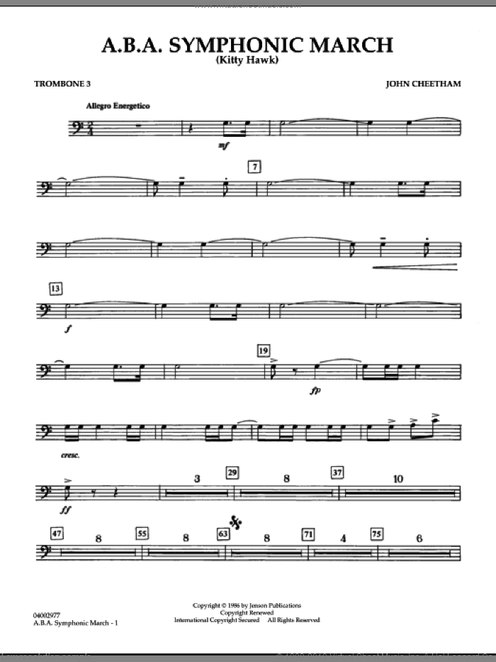 A.B.A. Symphonic March (Kitty Hawk) sheet music for concert band (trombone 3) by John Cheetham