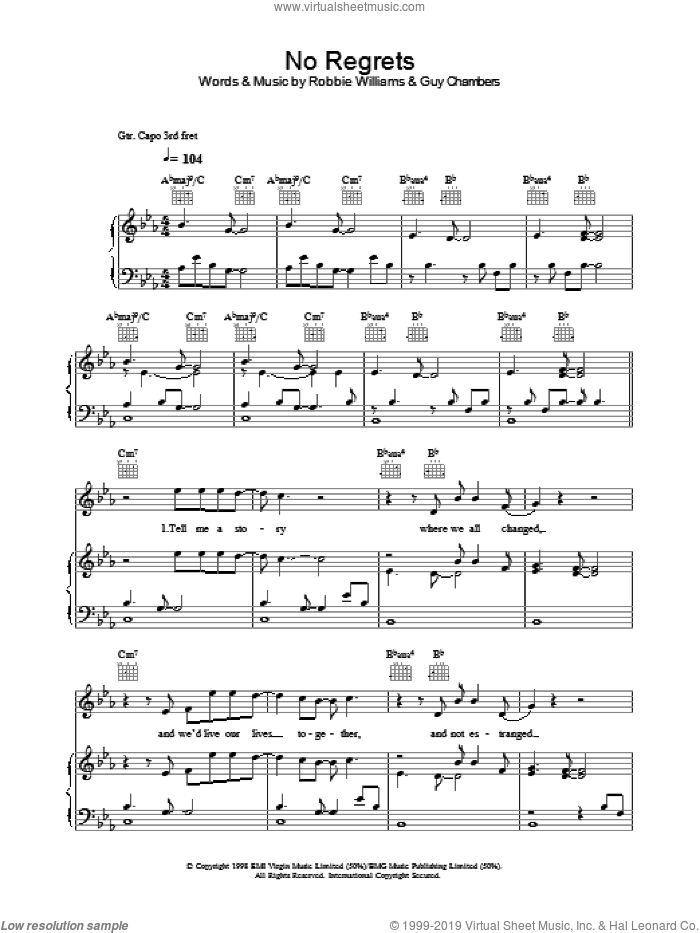 No Regrets sheet music for voice, piano or guitar by Robbie Williams and Guy Chambers, intermediate skill level