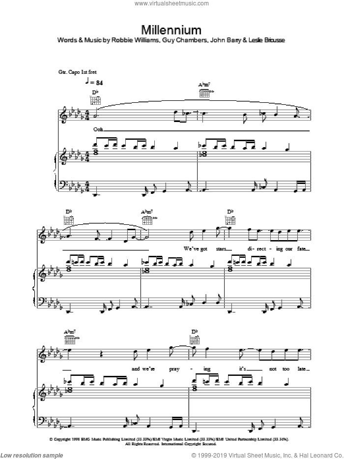 Millennium sheet music for voice, piano or guitar by John Barry, Guy Chambers and Robbie Williams. Score Image Preview.