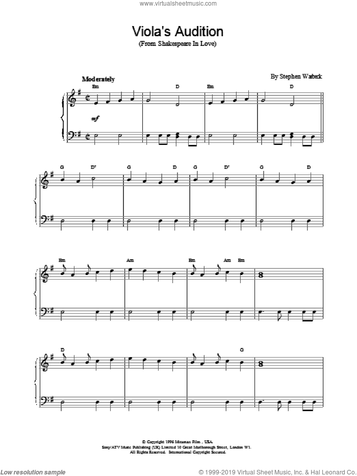 Viola's Audition sheet music for piano solo by Stephen Warbeck. Score Image Preview.