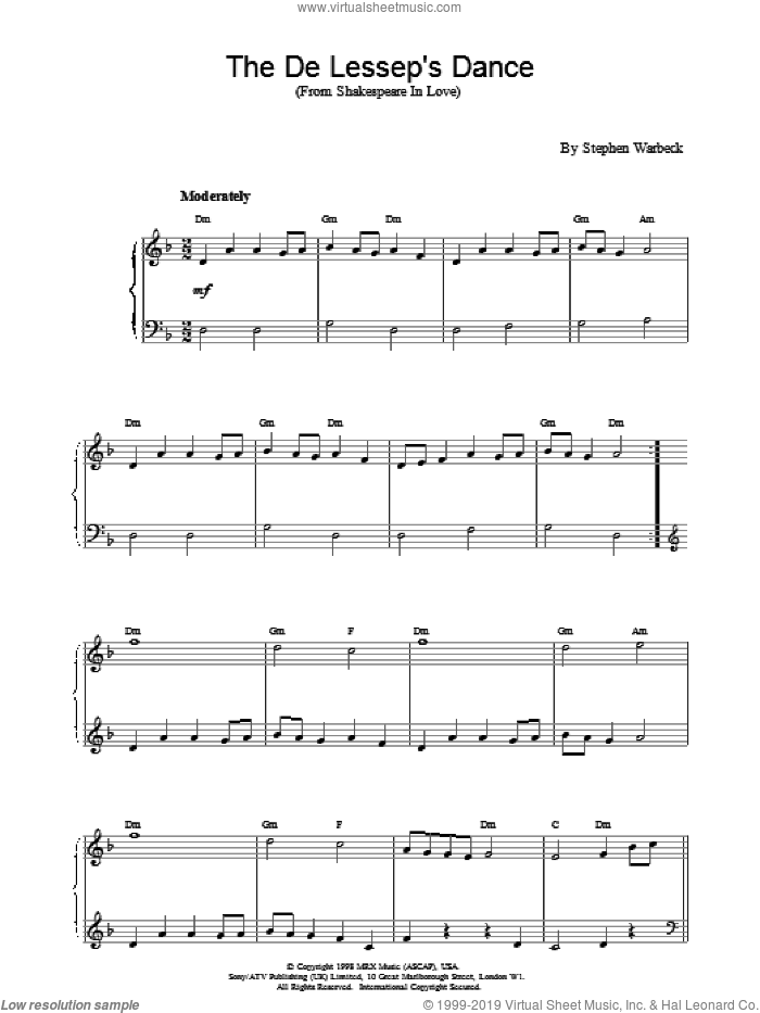 The De Lessop's Dance sheet music for piano solo by Stephen Warbeck. Score Image Preview.