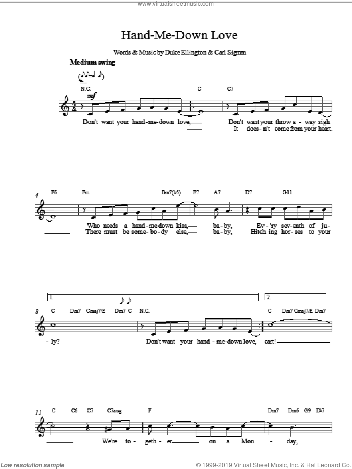Hand Me Down sheet music for voice and other instruments (fake book) by Duke Ellington, intermediate skill level